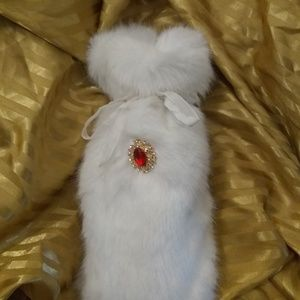 Fluffy white faux fur wine gift bag